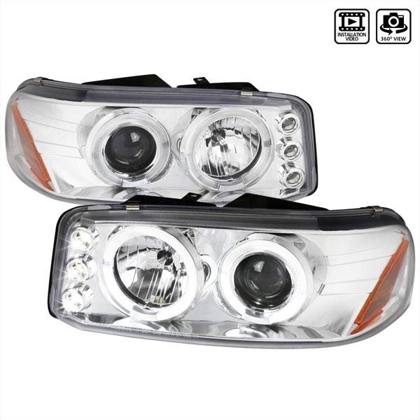Spec-D Tuning 2LHP-DEN00-TM | Spec-D Chevy Yukon / Gmc Denali Projector Headlights Dual Halo - Chrome; 2000-2006