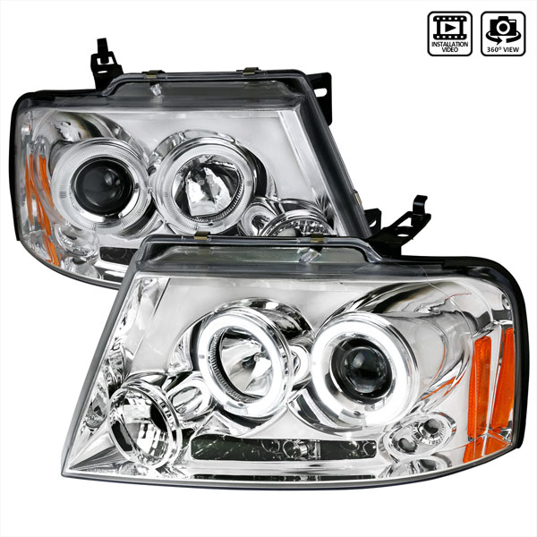 Spec-D Tuning 2LHP-F15004-TM | Spec-D 04-08 Ford F-150 Halo Led Projector