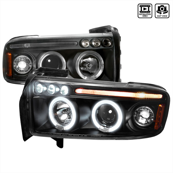 Spec-D Tuning 2LHP-RAM94JM-TM: Spec-D 94-01 Dodge Ram Halo Led Projector