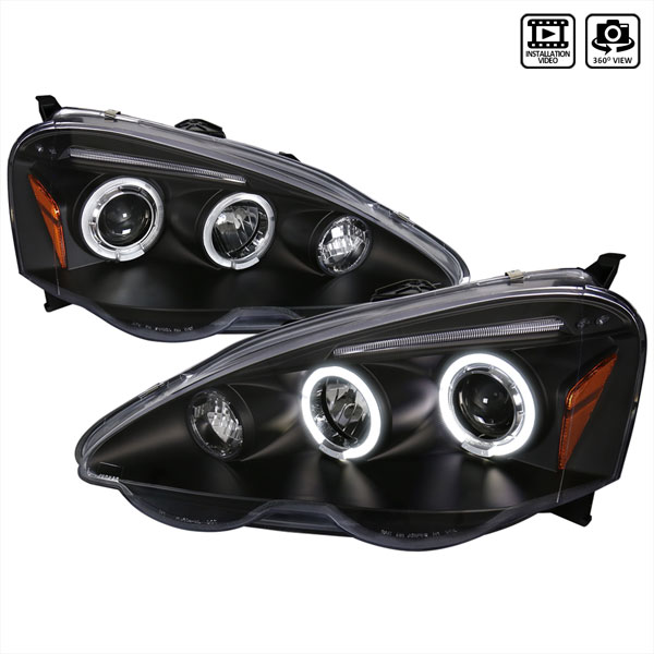 Spec-D Tuning 2LHP-RSX02JM-TM |  Acura Rsx Halo Led Projector Black; 2002-2004