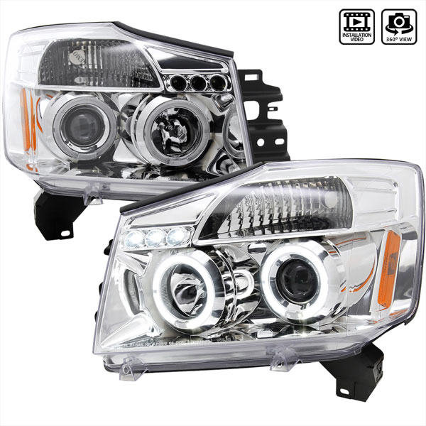 Spec-D Tuning 2LHP-TIT04-TM | Spec-D Nissan Titan Projector Headlights; 2004-2006