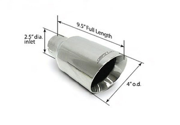 SLP 310305080:  Exhaust Tip Polished 4 Double-Wall 2.5 Inlet (ea.) Universal