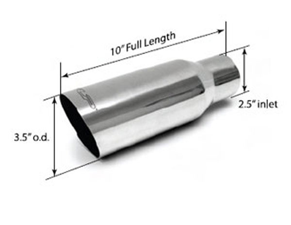 SLP Performance 310305302HP: SLP Exhaust Tip Polished 3.5 inch Single-Wall 2.5 inch Inlet (ea.) Universal