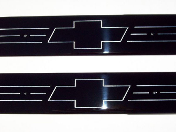Empire 357XBB:  07-up /GMC Full-size Trucks/SUVs Extended Cab Black Front Door Sills with Bowtie Logo