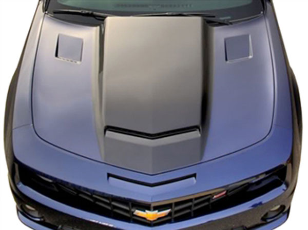 RKSport 40011115:  2010-13 Camaro Fiberglass Functional Ram Air-Extractor Hood - Carbon Fiber Hood Center