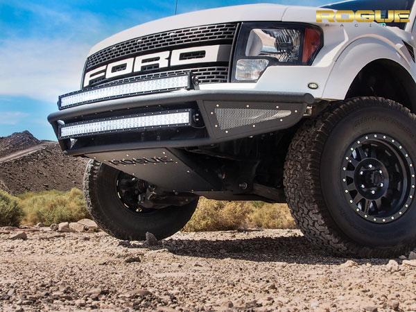 Rogue Racing 441610-91-05-MIS |  Raptor Throttle Front Bumper Mesh Skins, Intercooler Vented Skid, Satin Black Powder Coat; 2010-2014