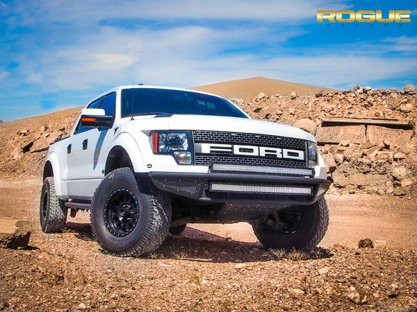 Rogue Racing 441610-91-05-MS |  Raptor Throttle Front Bumper Mesh Skins, Standard Skid Plates, Satin Black Powder Coat; 2010-2014