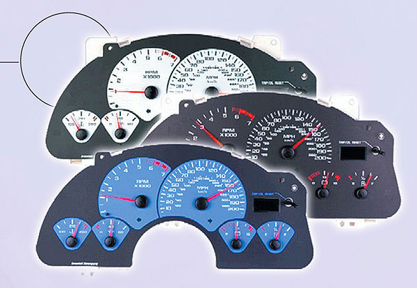 Granatelli 450003:  1999-02 LS1 Camaro 200 MPH Speedometer Gauge Face ONLY, White