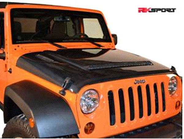 RKSport 48011000:  RK Sport Jeep Wrangler Hood With Functional Scoop And Heat Extractors 2007-12 - Fiberglass