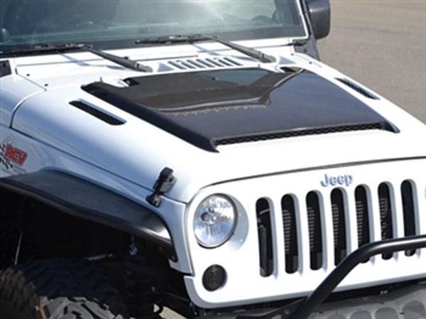 RKSport 48011010 | RK Sport Jeep Wrangler Hood With Functional Scoop And Heat Extractors - Fiberglass with Carbon Scoop; 2007-2012