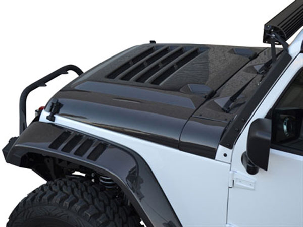 RKSport 48012045 |  Jeep Wrangler Extractor Hood with Carbon Fiber Top; 2013-2015