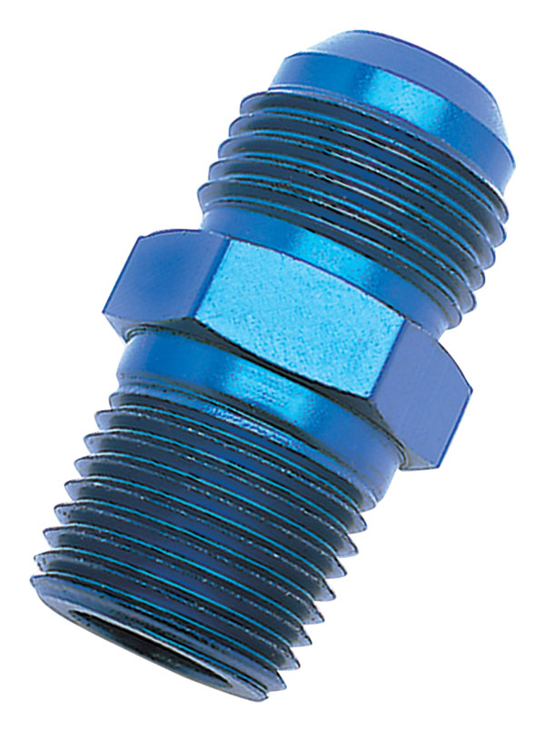Russell 670150 | Performance -6 AN to 1/2in NPT Straight Flare to Pipe (Blue)