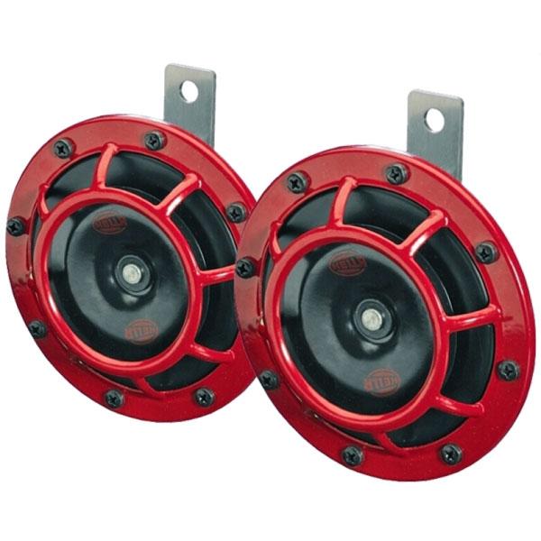Hella 3399801   Supertone Horn Kit 12V 300/500HZ Red (003399803 = 003399801)
