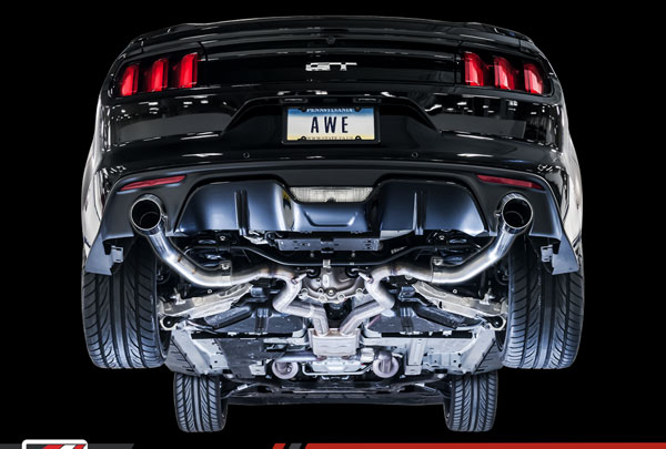 AWE Tuning 3020-32028 |  Ford Mustang GT 5.0L Cat-back Exhaust - Track Edition (Chrome Silver Tips); 2015-2017