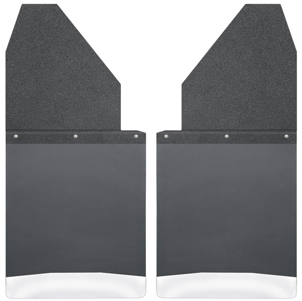 Husky Liners 17111 | Kick Back Mud Flaps 14 Wide - Black Top and Stainless Weight Chevrolet Silverado HD; 2001-2017