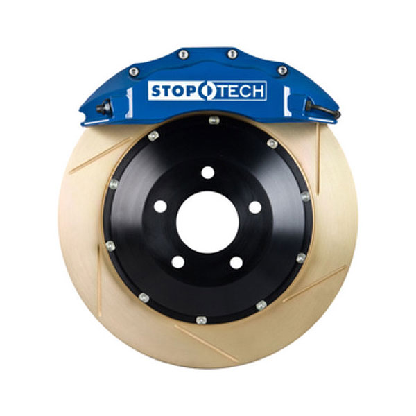 StopTech 83.893.4300.23 | Volkswagen Eos Big Brake Kit ST-40 Blue Calipers & 2-Piece Yellow Zinc Slotted Rotors, Front; 2007-2016