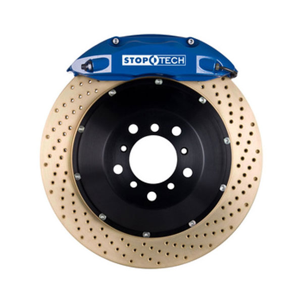 StopTech 83.112.4600.24 | Audi Allroad Quattro Big Brake Kit ST-40 Blue Calipers & 2-Piece Yellow Zinc Drilled Rotors, Front; 2001-2005