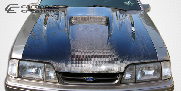 Carbon Creations 104174 | Ford Mustang Carbon Creations Spyder3 Hood 1-Piece; 1987-1993