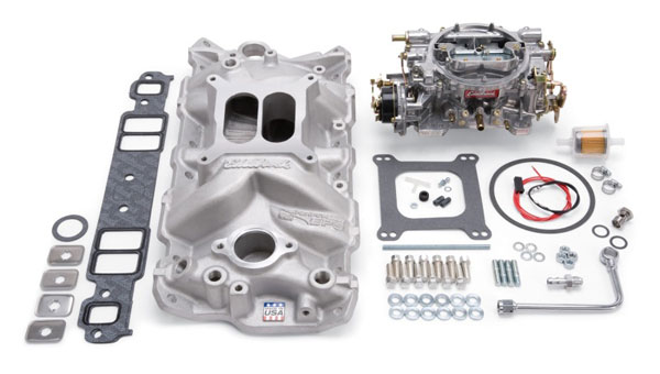 Edelbrock 2021 | Manifold And Carb Kit Performer Eps Small Block Chevrolet 1957-1986 Natural Finish