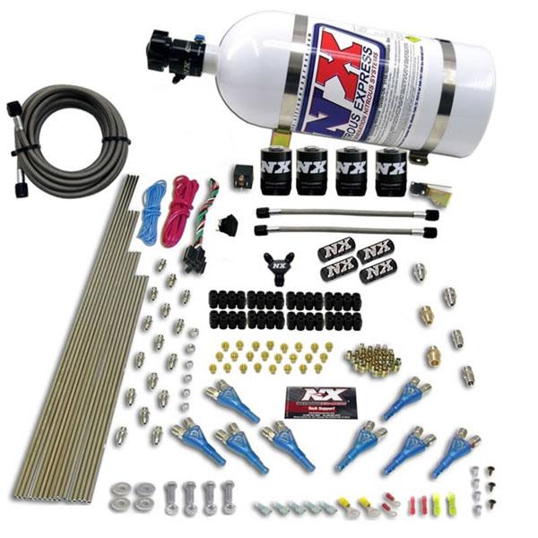 Nitrous Express 90006-10 | 8 Cyl Shark Direct Port 4 Solenoids Nitrous Kit (200-600HP) w/10lb Bottle