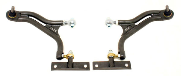 BMR Suspension AA019: BMR Adjustable Front A-arms with Delrin Bushing/Rod End - 2005-09 Mustang GT/GT500 (New Version)