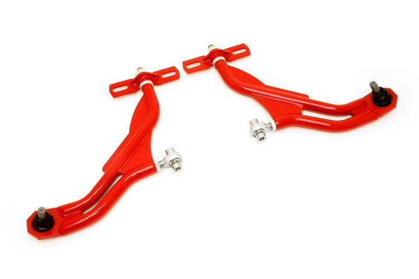 BMR Suspension AA022R | BMR Adjustable Front A-arms Delrin/Rod-end, 19mm Standard Height Ball Joint - Mustang GT/GT500 (New Version) Red; 2010-2014