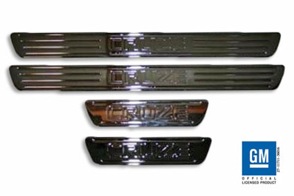 American Brother Designs ABD-1002C: ABD 2011 + Chevy Cruze Billet Logo Door Sill Set - Chrome (4 piece set)