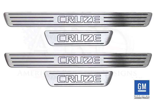 American Brother Designs ABD-1002TT    ABD 2011 + Chevy Cruze Billet Logo Door Sill Set - Two Tone (4 piece set)
