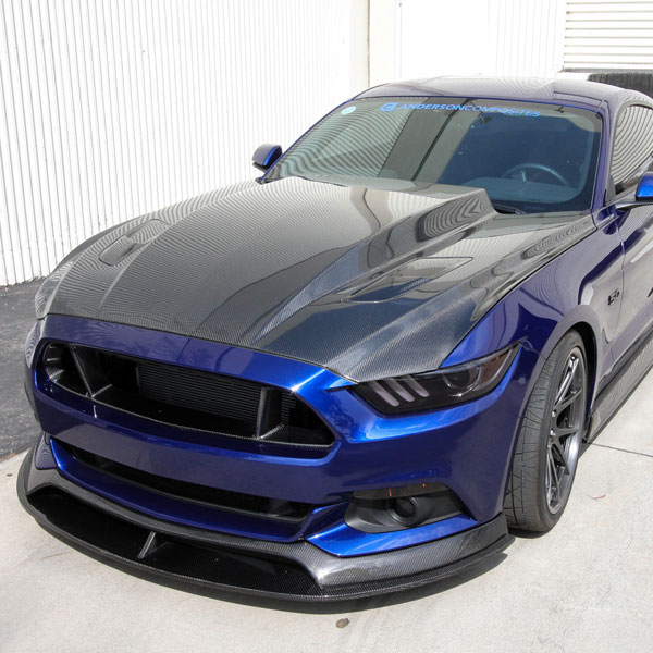 Anderson Composites AC-HD15FDMU-CJ-DS | Mustang 3in Cowl Carbon Fiber Hood Double Sided; 2015-2017