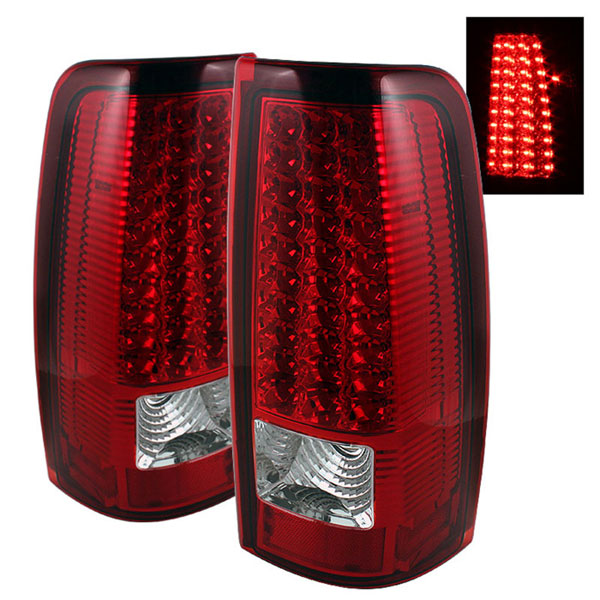 xTune ALT-ON-CS99-LED-RC:  Chevrolet Silverado 1500/2500/3500 99-02 LED Tail Lights - Red Clear