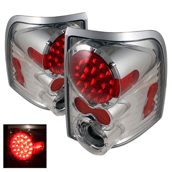 xTune ALT-ON-FEXP02-LED-C |  Mercury Mountaineer LED Tail Lights - Chrome; 2002-2005