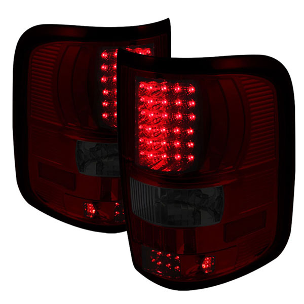 xTune ALT-ON-FF15004-LED-RS |  Ford F150 Styleside (Not Fit Heritage & SVT) LED Tail Lights - Red Smoke; 2004-2008