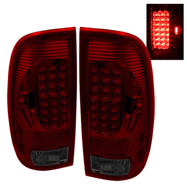 xTune ALT-ON-FF15097-LED-RS |  Ford F250/350/450/550 Super Duty 99-07 LED Tail Lights - Red Smoke