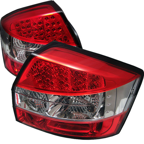 Spyder ALT-YD-AA402-LED-RC:  Audi A4 02-05 LED Tail Lights - Red Clear