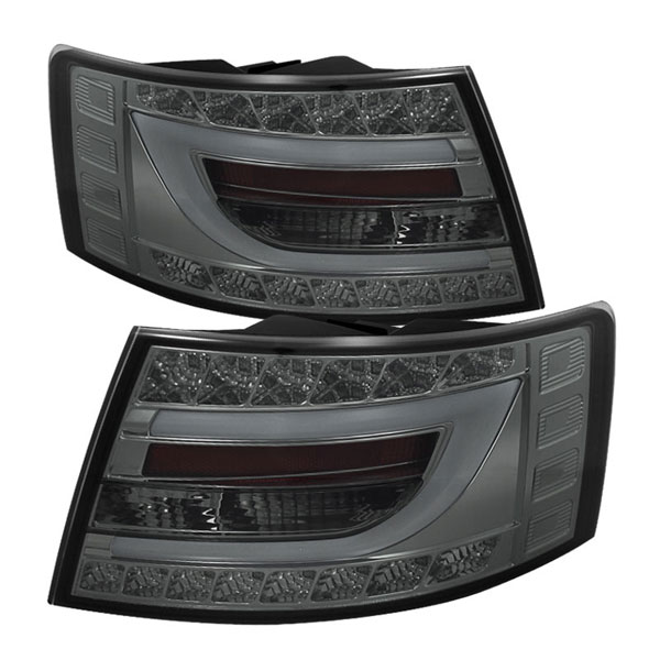 Spyder (5079626)  Audi A6 05-08 4Dr Sedan Only (non-Quattro) Light Bar LED Tail Lights - Incandescent Model Only - Smoke - (ALT-YD-AA605-LBLED-SM)