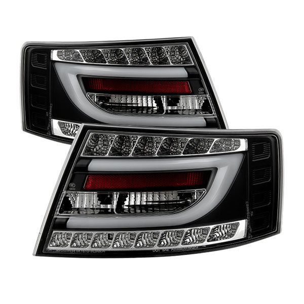 Spyder 5080769 |  Audi A6 4Dr Sedan Only (non-Quattro) Light Bar LED Tail Lights - LED Model Only - Black - (ALT-YD-AA605V2-LBLED-BK); 2005-2008