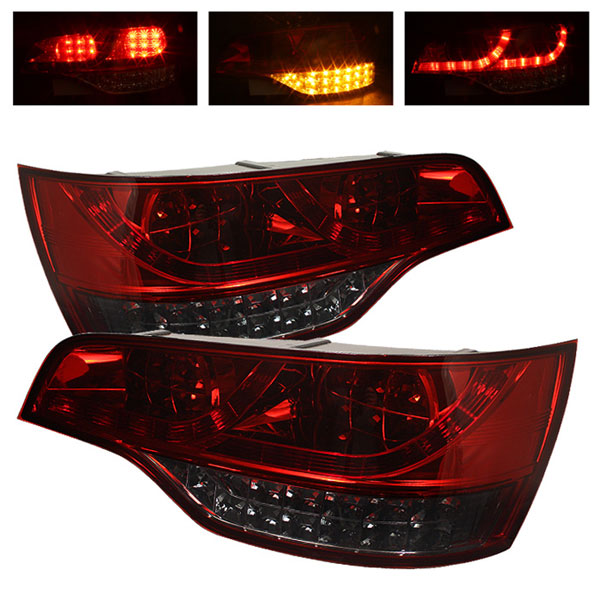 Spyder (5000309)  Audi Q7 07-09 LED Tail Lights - Red Smoke  - (ALT-YD-AQ707-LED-RS)