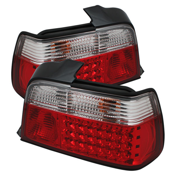 Spyder ALT-YD-BE3692-4D-LED-RC:  BMW E36 3-Series 92-98 4Dr LED Tail Lights - Red Clear