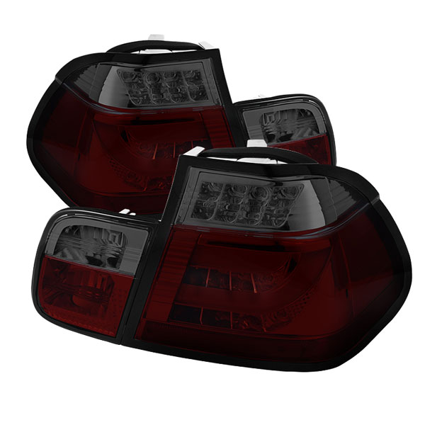 Spyder ALT-YD-BE4602-4D-LBLED-RS:  BMW E46 3-Series 02-05 4Dr Light Bar Style LED Tail Lights - Red Smoke