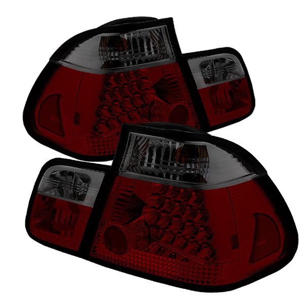 Spyder ALT-YD-BE4602-4D-LED-RS:  BMW E46 3-Series 02-05 4Dr LED Tail Lights - Red Smoke