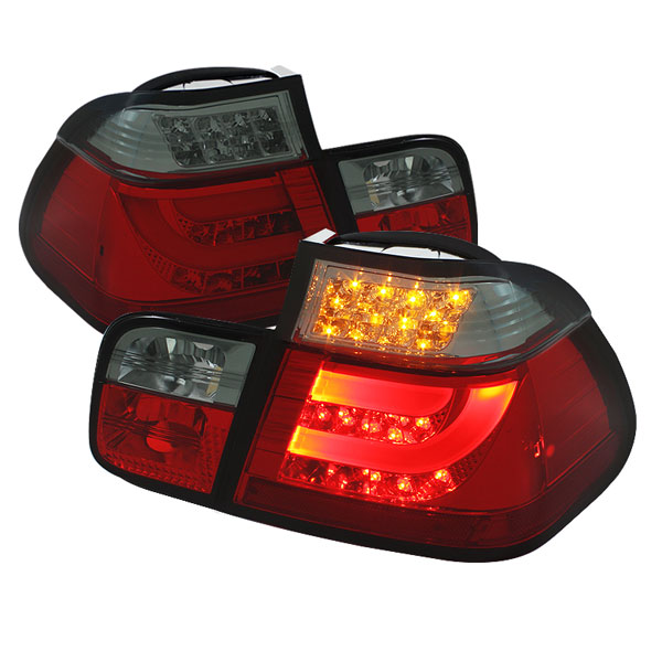 Spyder ALT-YD-BE4699-4D-LBLED-RS:  BMW E46 3-Series 99-01 4Dr Light Bar Style LED Tail Lights - Red Smoke