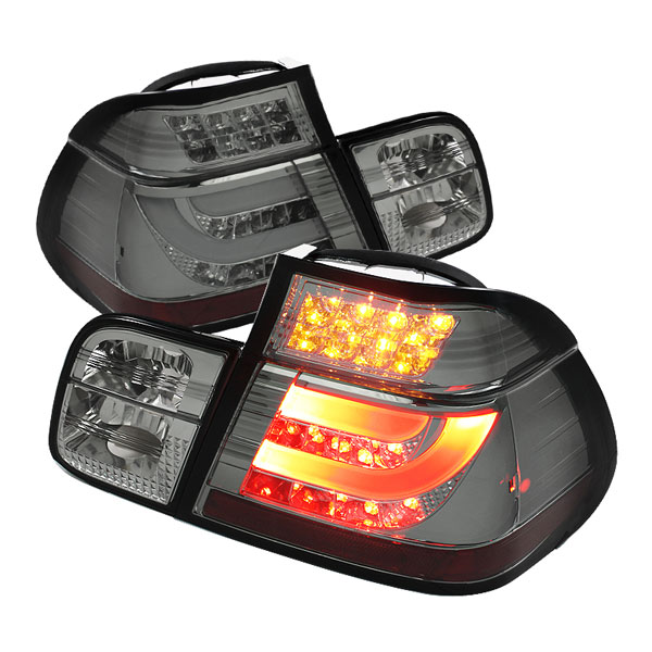Spyder ALT-YD-BE4699-4D-LBLED-SM:  BMW E46 3-Series 99-01 4Dr Light Bar Style LED Tail Lights - Smoke