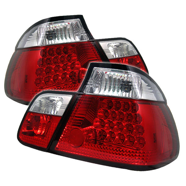 Spyder ALT-YD-BE4699-4D-LED-RC:  BMW E46 3-Series 99-01 4Dr LED Tail Lights - Red Clear