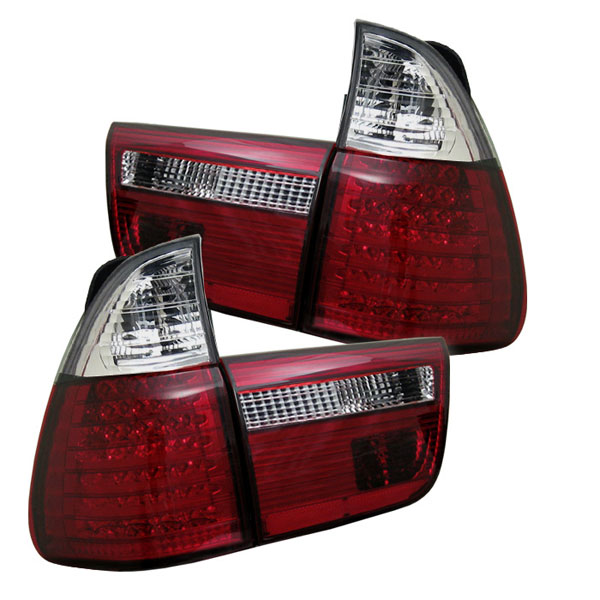 Spyder ALT-YD-BE5300-LED-RC:  BMW E53 X5 00-06 4PCS LED Tail Lights - Red Clear