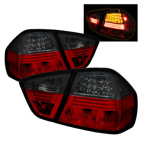 Spyder ALT-YD-BE9006-LED-RS:  BMW E90 3-Series 06-08 4Dr LED Tail Lights - Red Smoke