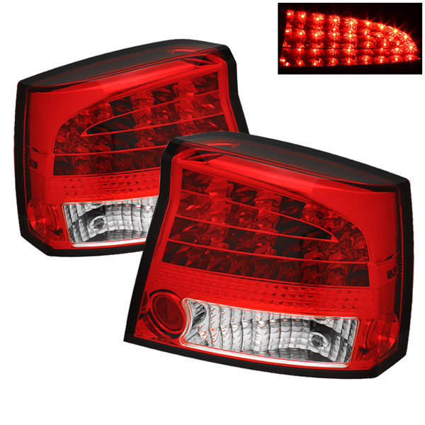 Spyder ALT-YD-DCH05-LED-RC:  Dodge Charger 06-08 LED Tail Lights - Red Clear