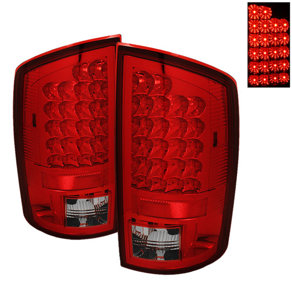 Spyder ALT-YD-DRAM02-LED-RC:  Dodge Ram 1500 02-06 LED Tail Lights - Red Clear