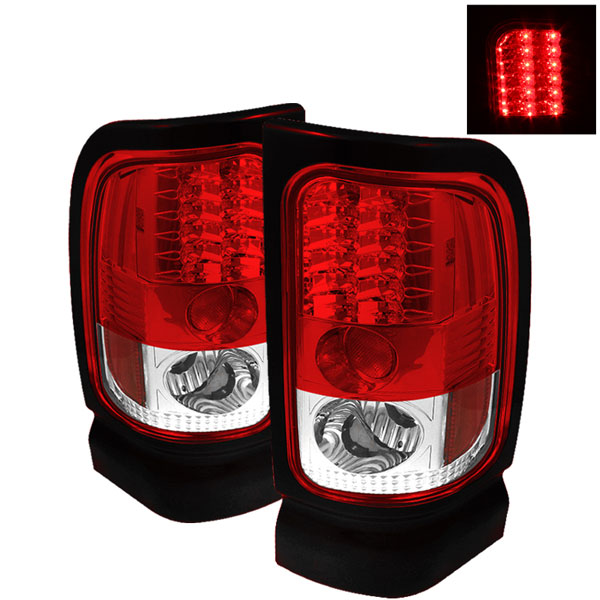 Spyder 5002716:  Dodge Ram 1500 94-01 LED Tail Lights - Red Clear  - (ALT-YD-DRAM94-LED-RC)