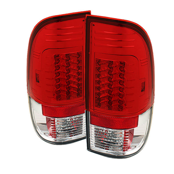 Spyder ALT-YD-FF15097-LED-G2-RC:  Ford F250/350/450/550 Super Duty 99-07 Version 2 LED Tail Lights - Red Clear