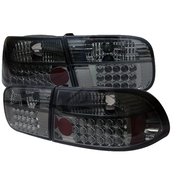 Spyder ALT-YD-HC92-24D-LED-SM:  Honda Civic 92-95 2/4DR LED Tail Lights - Smoke